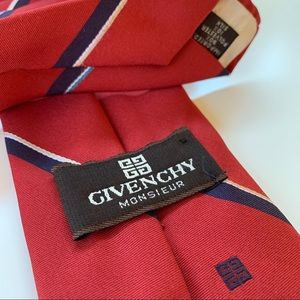 Givenchy Monsieur Red Stripe Mens Tie